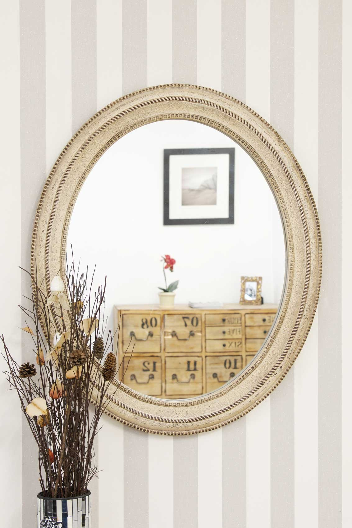 Large wall mirror cream antique style oval 36 x 30 5 39 39 ebay for Mirror 30 x 36