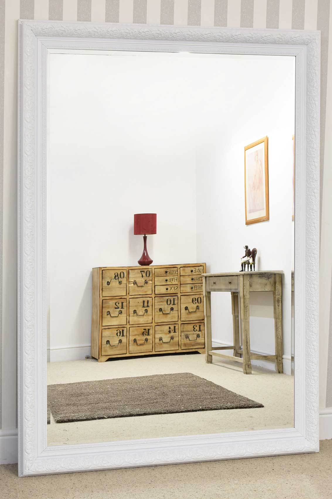 large white antique style bellved wall mirror handmade 6ft10 x 4ft10 208 x 147cm ebay. Black Bedroom Furniture Sets. Home Design Ideas