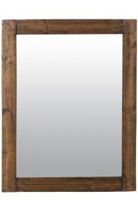Farmhouse Dark Natural Wood Dress Mirror 118 x 92 CM