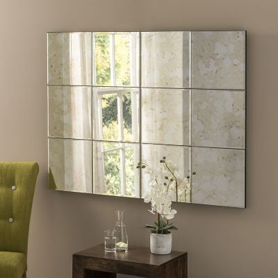 UK Made Multi panel Antique Glass Statement Mirror 122 x 91 CM