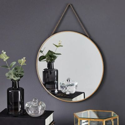 Large Round Gold Hanging Wall Chain Mirror From MirrorOutlet. Perfect For any Wall. 29.5cm.