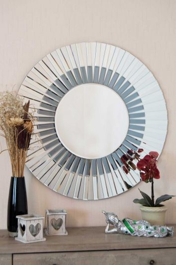 All Glass Stylised Round Wall Mirror 80 x 80 CM