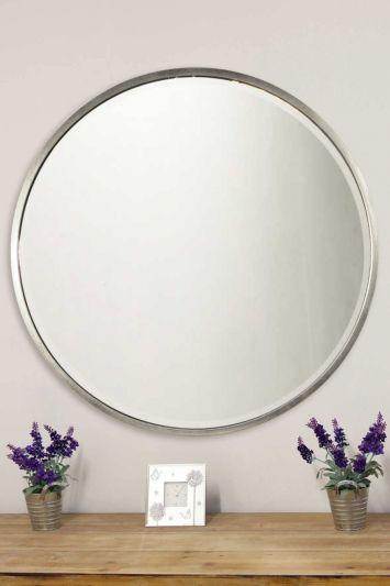 Rowan Silver Elegant Modern Bevelled Round Mirror 100 x 100 CM