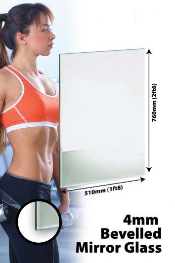 Circuitt 4mm Sheet Mirror Glass Bevelled 76 x 51 CM