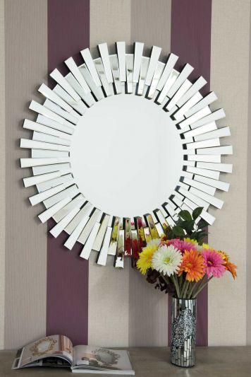 Starburst All Glass Stylised Round Mirror 91 x 91 CM