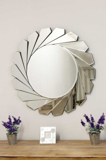 All Glass Stylised Aperture Round Wall Mirror 80 x 80 CM