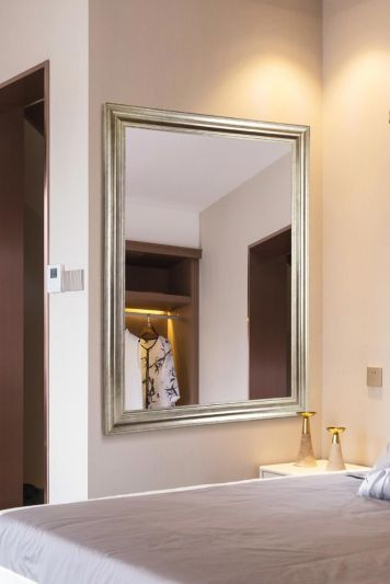Lancaster Champagne Silver Extra Large Wall hanging Mirror. 103cm X 73cm. New
