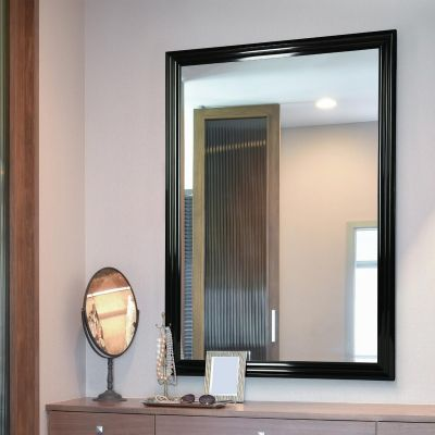 Lancaster Gloss Black Extra Large Wall hanging Mirror. 100cm X 70cm. New