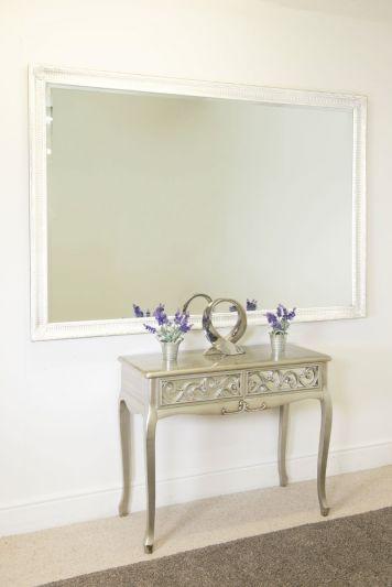 Fenton Vintage White Antique Design Large Leaner Mirror 5ft7 x 3ft7 172 x 111CM