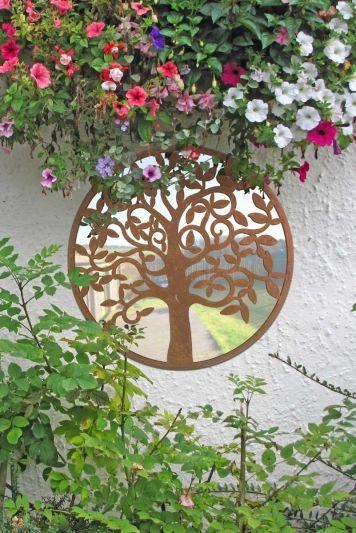 Small Tree Design Round Garden Mirror 60 x 60 CM 2ft x 2ft