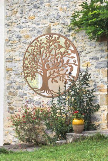 Bird Tree Design Round Garden Mirror 100 x 100 CM 3ft3 x 3ft3
