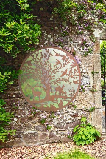 Stag Deer Tree Design Round Garden Mirror 100 x 100 CM 3ft3 x 3ft3