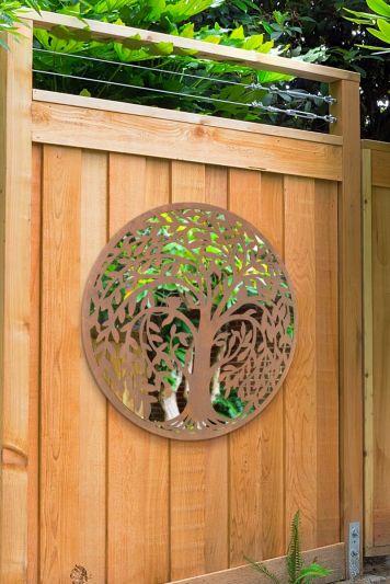 Swirl Tree Design Round Garden Mirror 100 x 100 CM 3ft3 x 3ft3