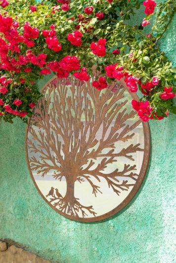 Song Birds Tree Design Round Garden Mirror 100 x 100 CM 3ft3 x 3ft3