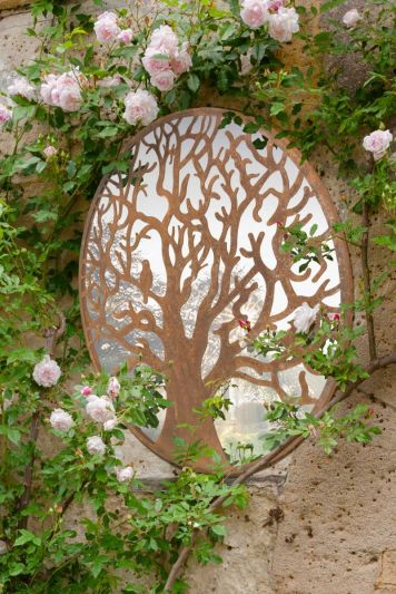 Small Bird Tree Design Round Garden Mirror 60 x 60 CM 2ft x 2ft