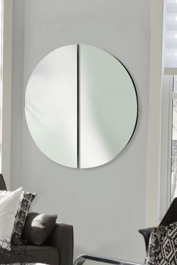 All Glass Round Mirror - Made up of 2 semi circles 90cm X 90cm Overall