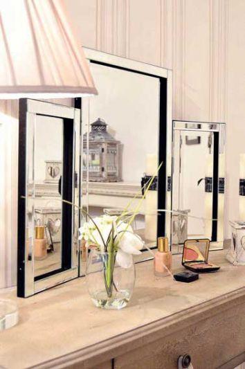 Moreton Silver All Glass Dressing Table Mirror 56 x 76 CM