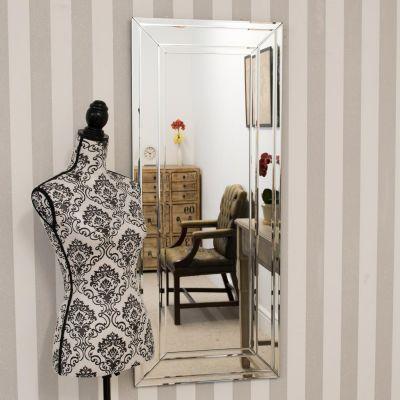 Langley All Glass Modern Bevelled Dress Mirror 120 x 50 CM