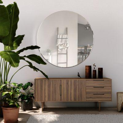 All Glass Bevelled Classic Design Round Mirror 100 x 100CM