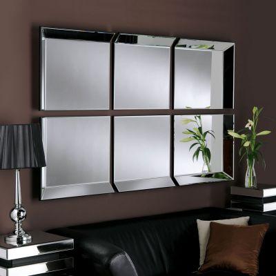 UK Made All Glass Modern 6 Panel Wall Mirror 167 x 106 CM