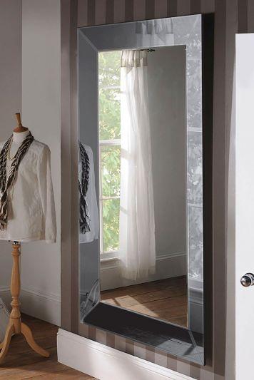 UK Made Large Grey Glass Tray Effect Venetian Wall Mirror 183 x 106 CM