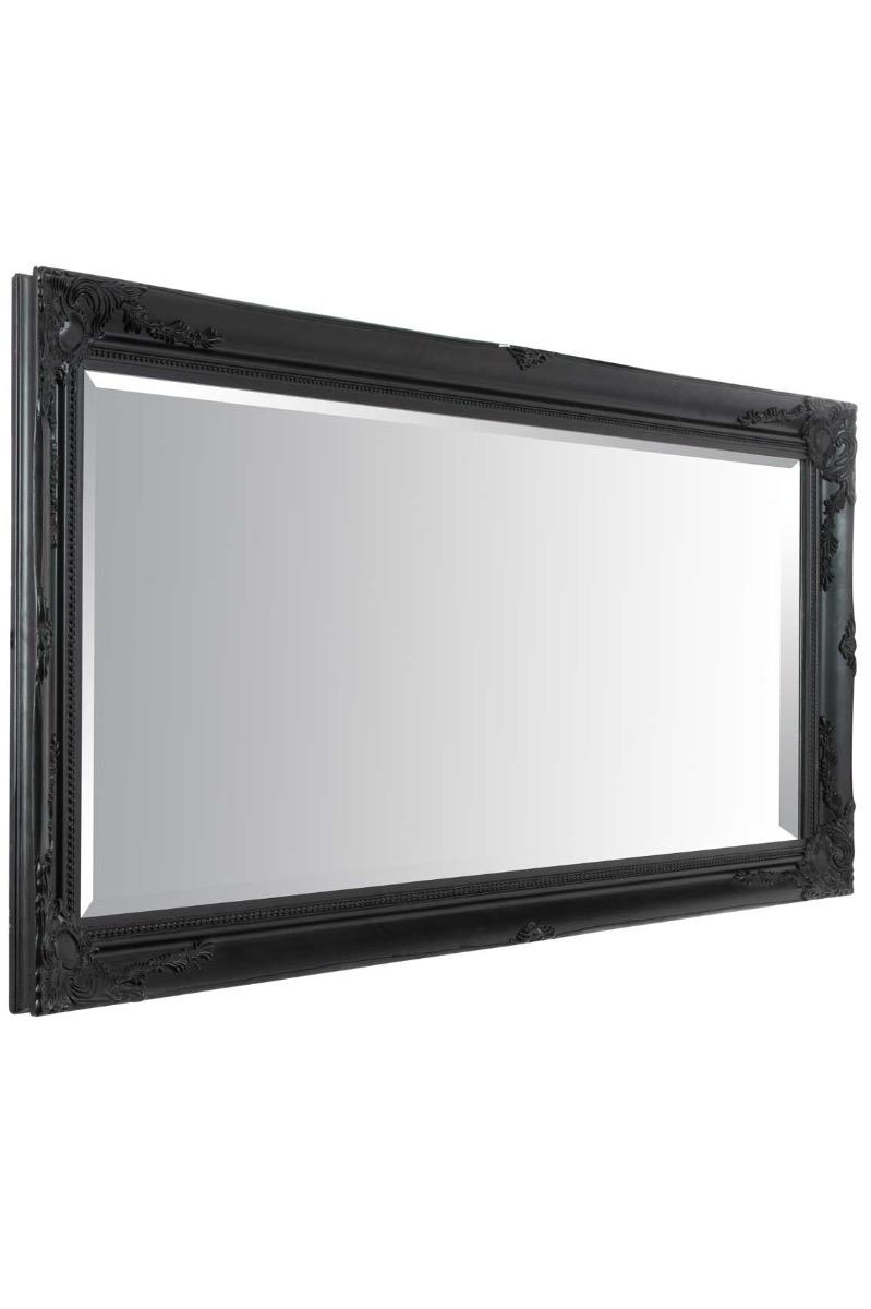 Large Antique Full Length Ornate Styled Black Mirror 5ft7