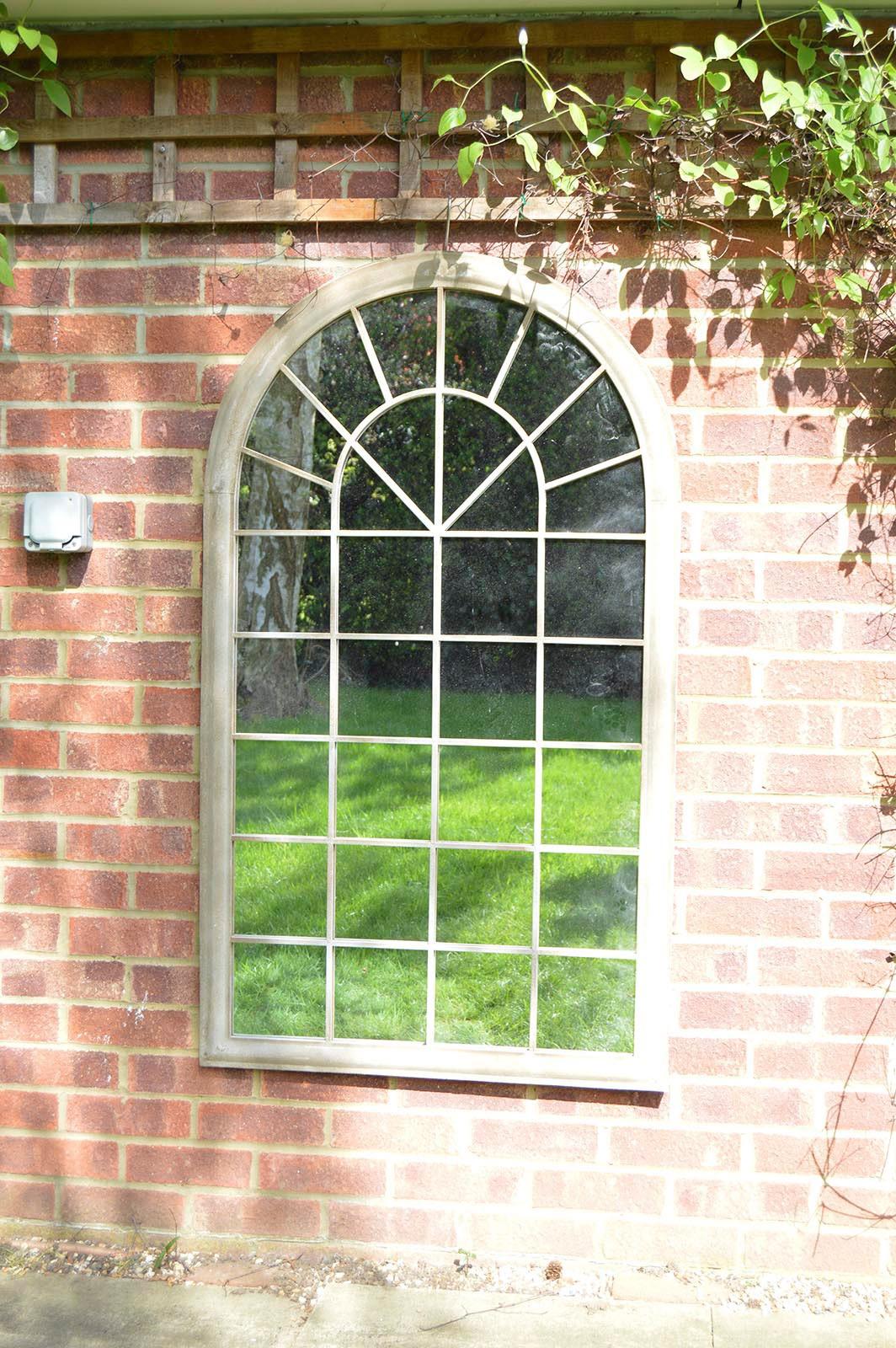 Outdoor Arch Top Stone Effect Garden Mirror 4ft3 X 2ft6