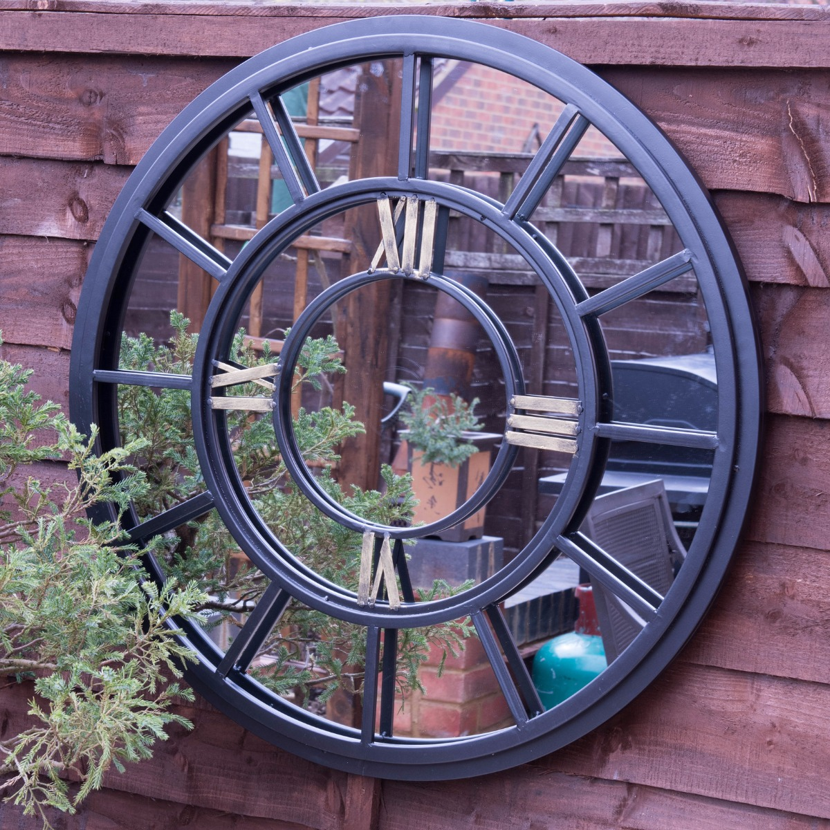 Large Industrial Antiqued Clock Face Style Garden Mirror