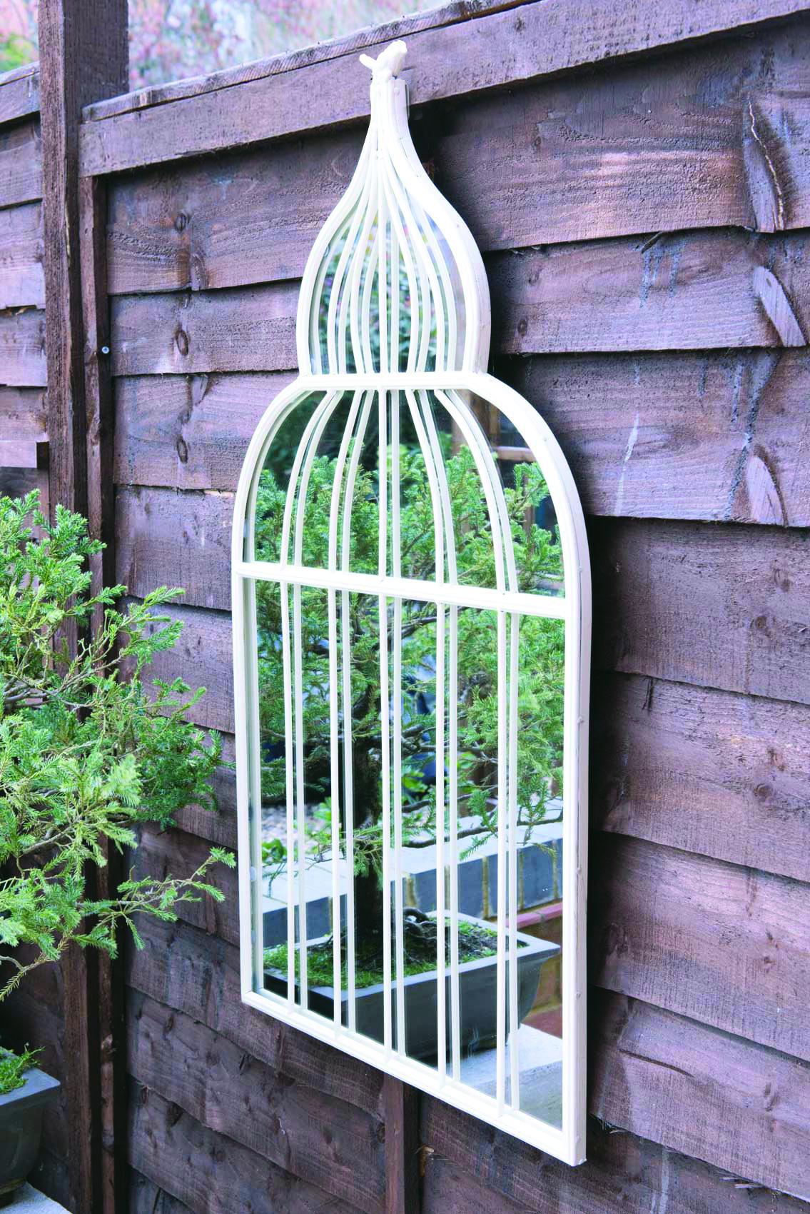 Large Ornate Cream Bird Cage Style Garden Mirror