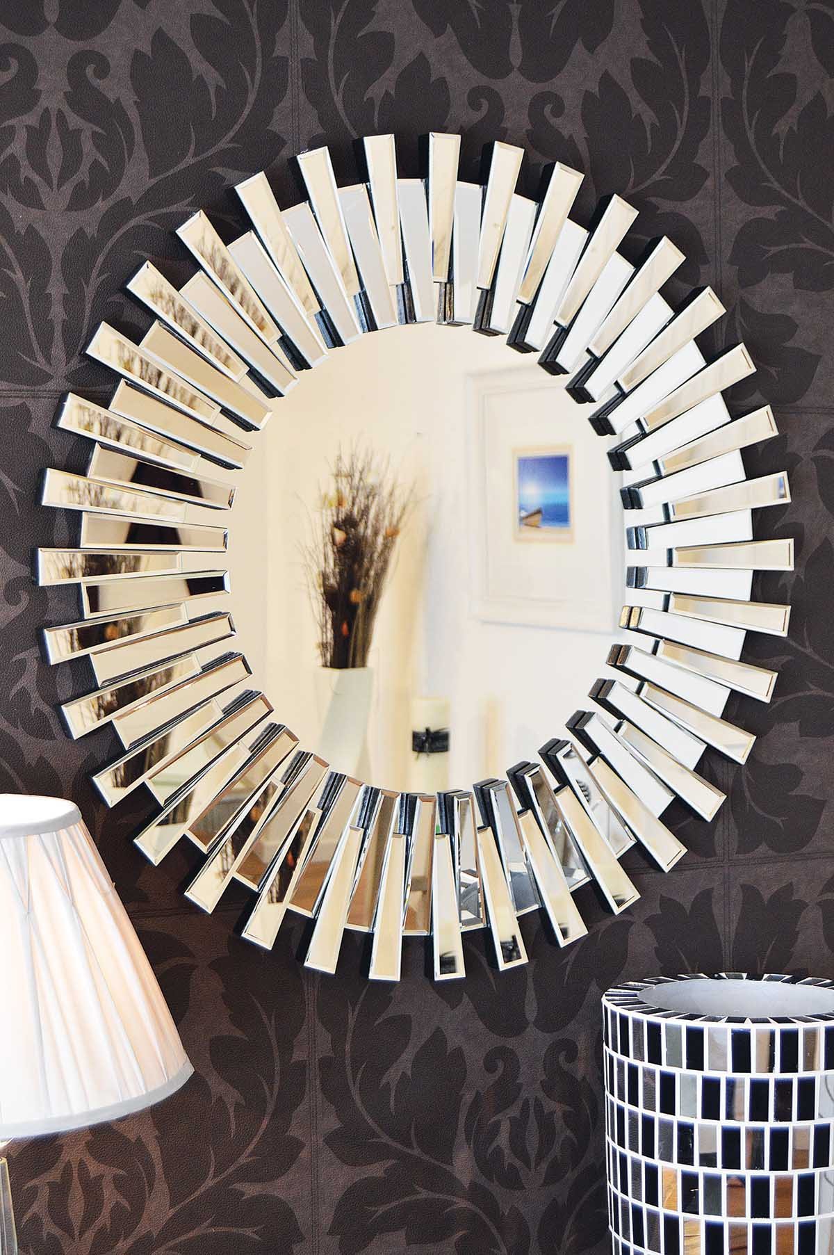Modern Unique 3d Sunburst All Glass Venetian Round Wall Mirror 3ft Or 91cm New 5055781807961 Ebay