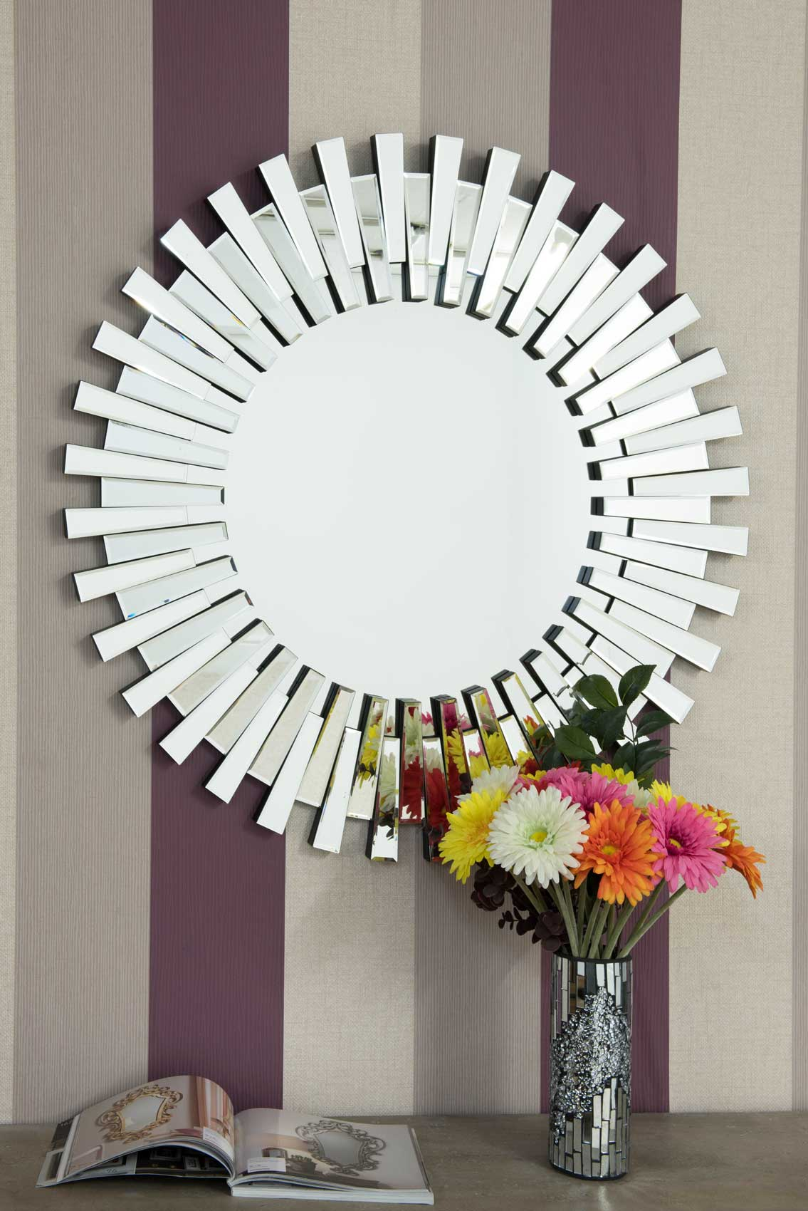 Modern Unique 3d Sunburst All Glass Venetian Round Wall
