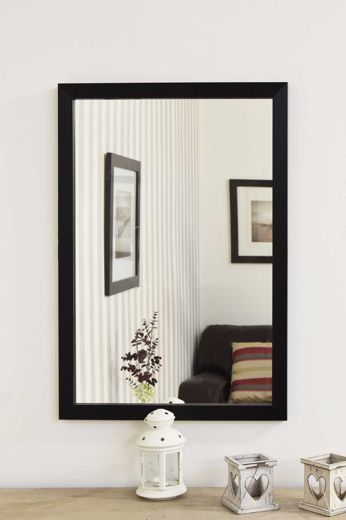 Large black framed modern contemporary wall mirror 2ft8 x 2ft for Large black framed mirror