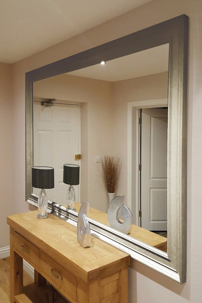 Extra Large Silver Coloured Modern Big Leaner Wall Mirror