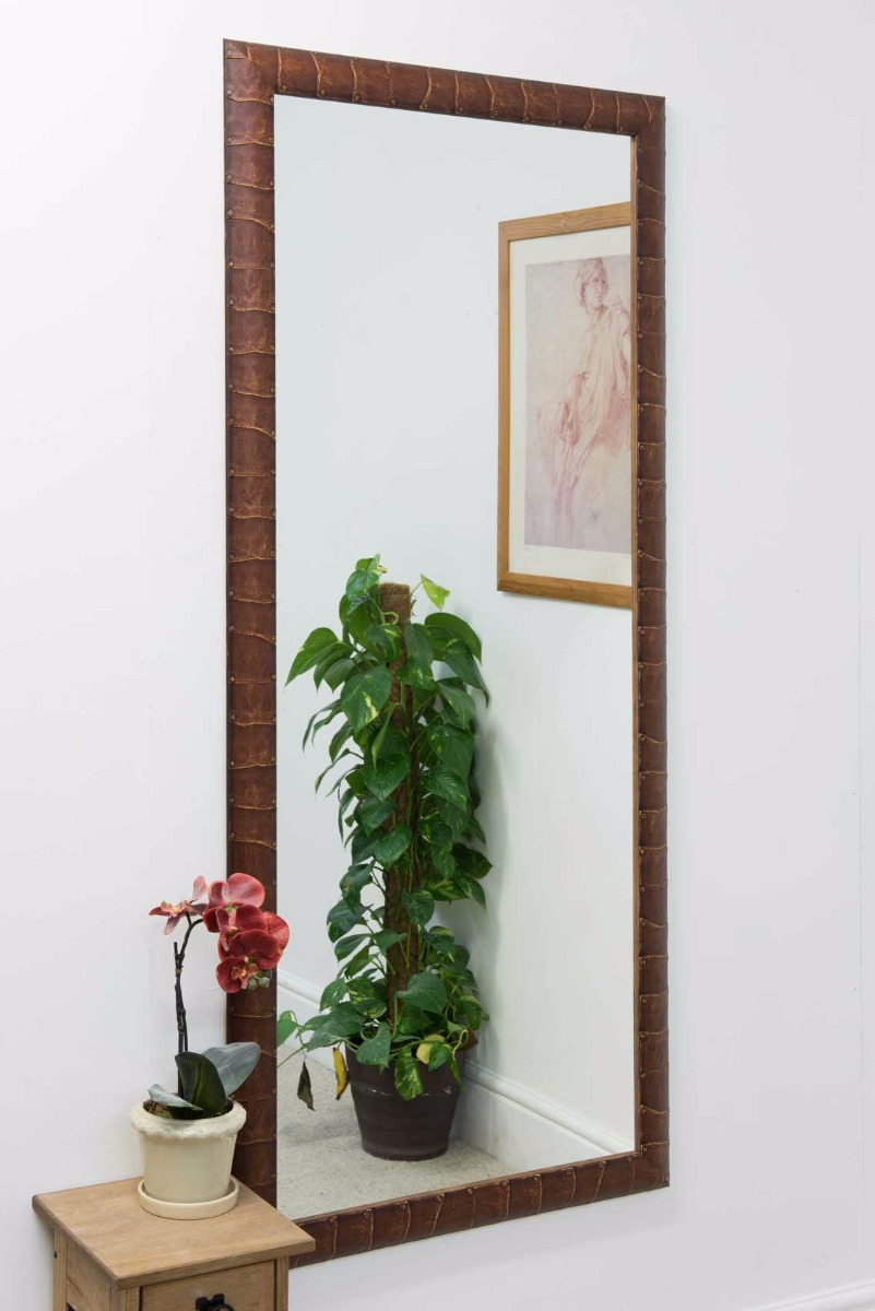 Dark brown leather look wall mirror 5ft4 x 2ft4 163cm for 4 x 5 wall mirror
