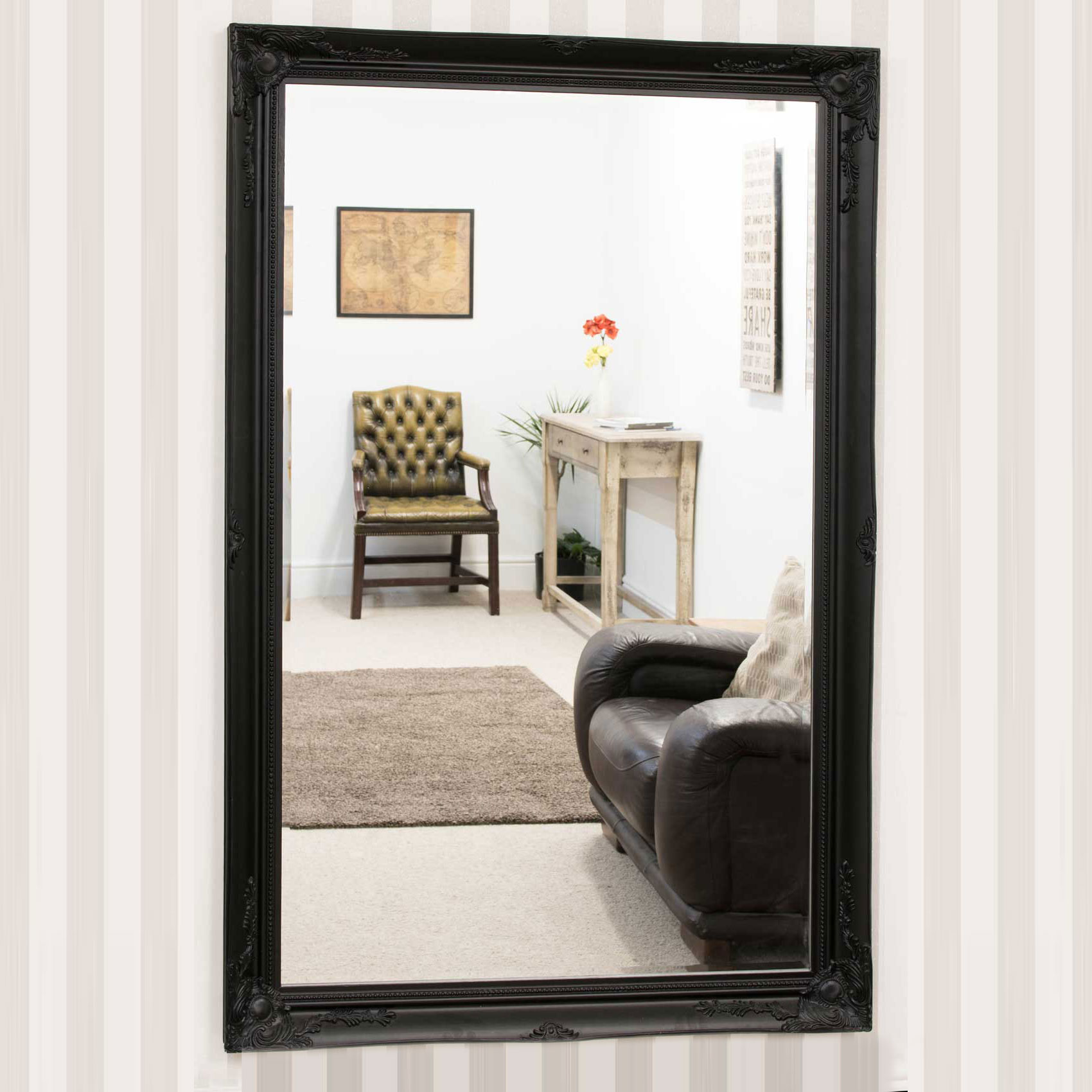 V Large Antique Style Black Mirror Rectangle Wall Mounted ... on Wall Mirrors id=78452