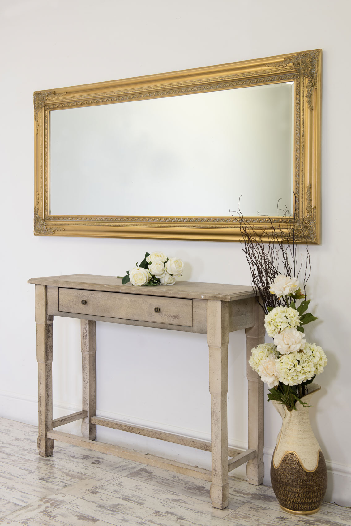 Large Gold Antique Style Wall Mirror Wood 5Ft10 X 2Ft10 ...
