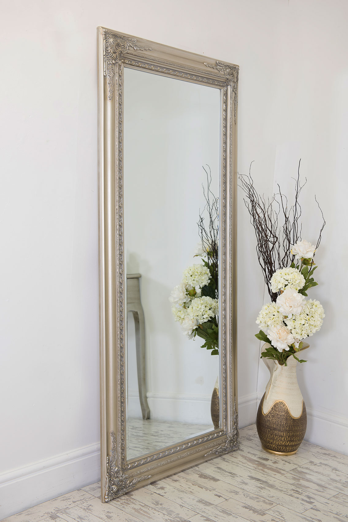 Large silver antique style wall mirror wood 5ft10 x 2ft10 for Big silver wall mirrors