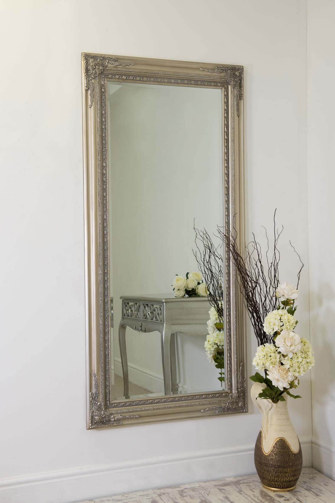 Large silver antique style wall mirror wood 5ft10 x 2ft10 for Antique looking wall mirrors