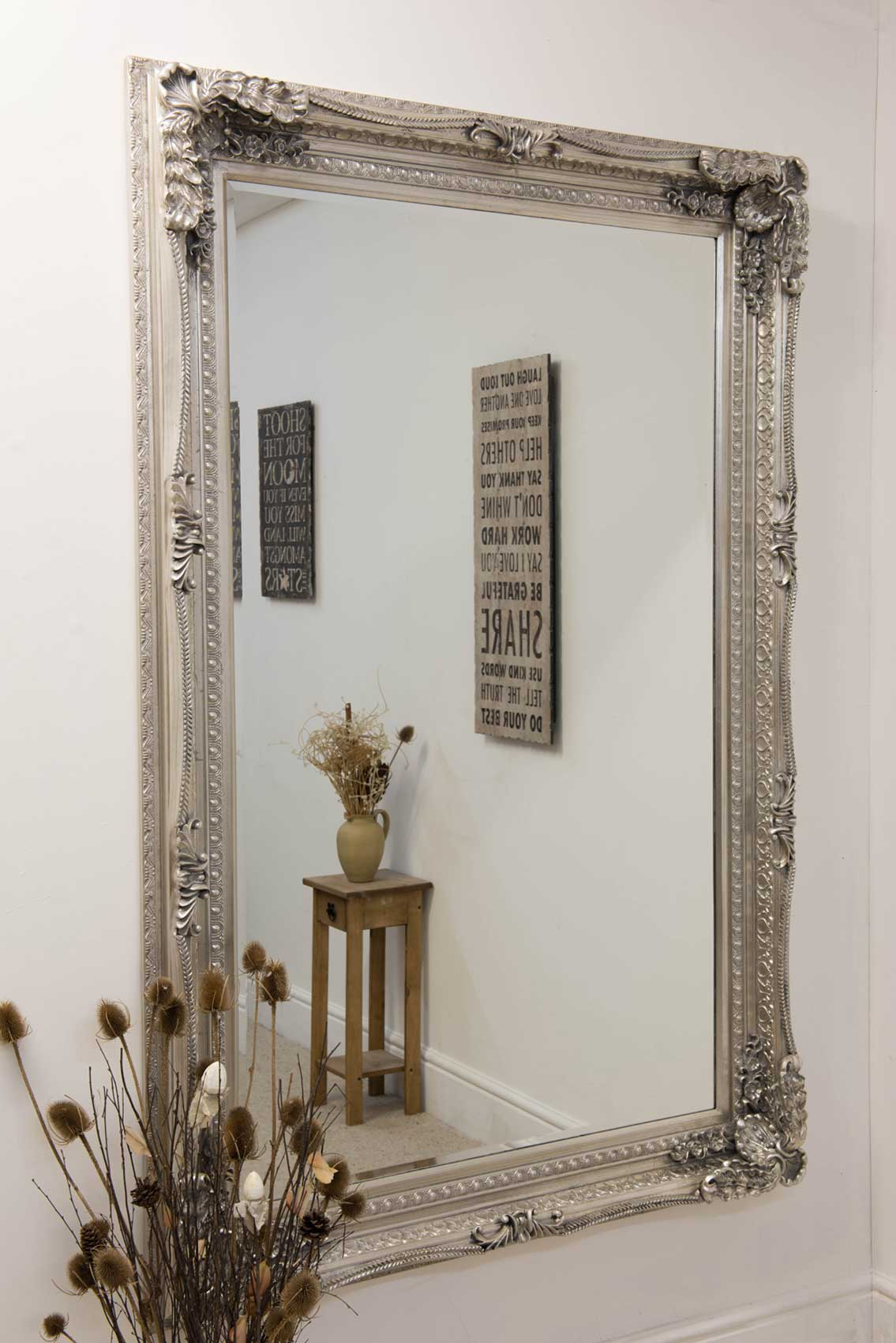 Large Silver Antique Shabby Chic Ornate Wall Mirror 4ft1 X