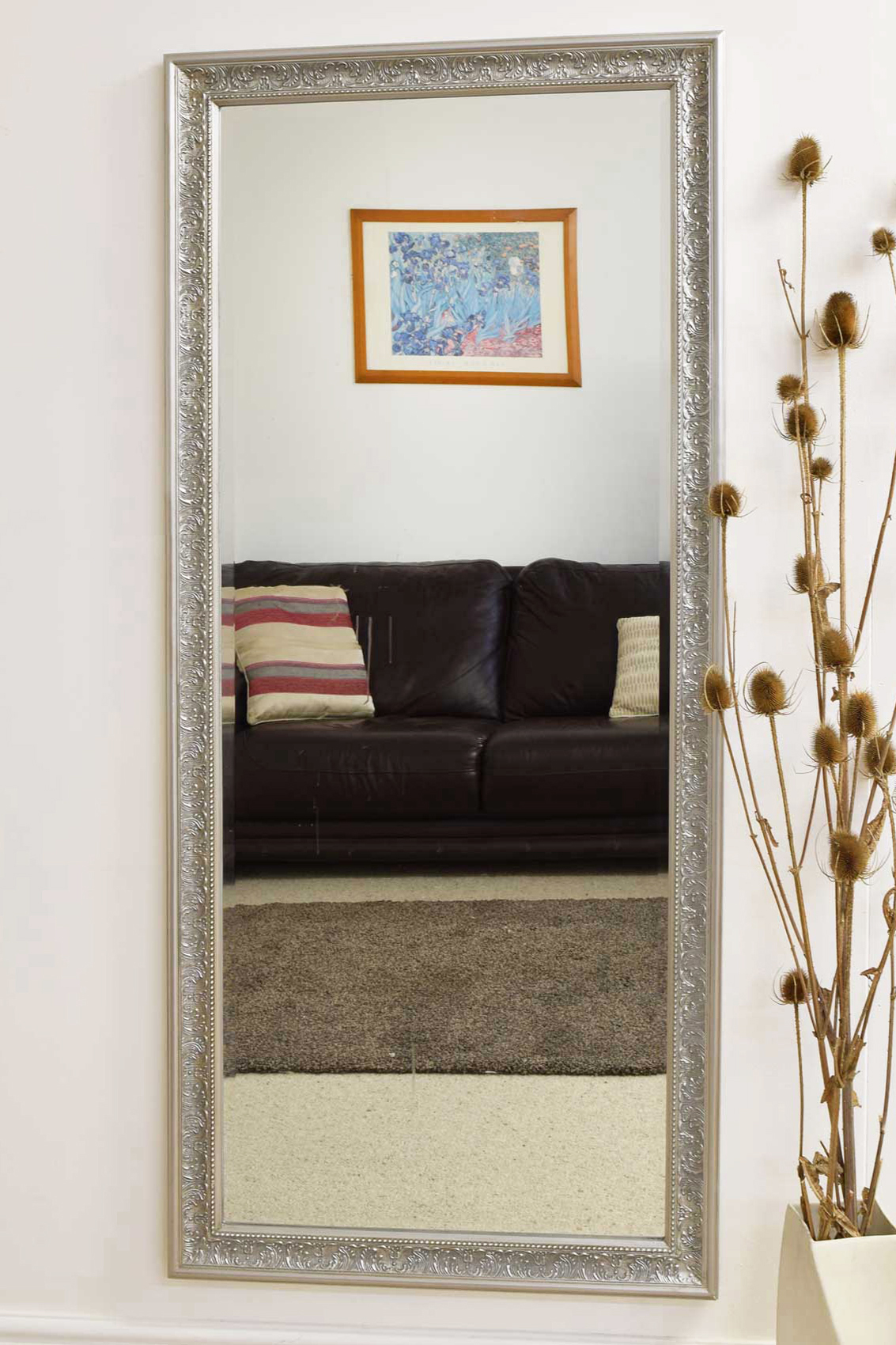 Large Antique Design Full Length Silver Wall Mirror 5ft3 X
