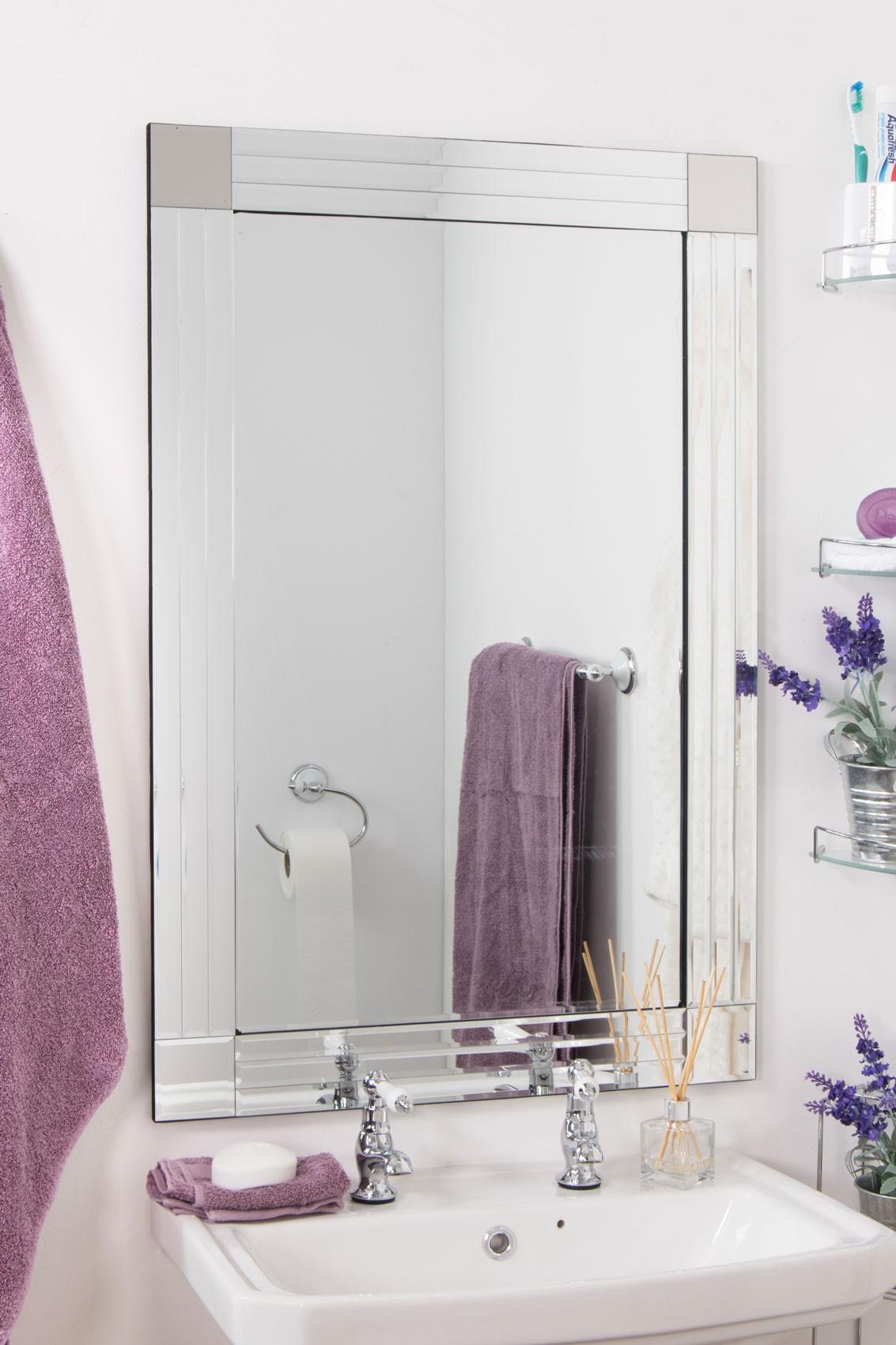 Silver triple bevelled venetian bathroom mirror 3ft x 2ft 91cm x 61cm undo 5055781821097 ebay for Bevelled edge bathroom mirror