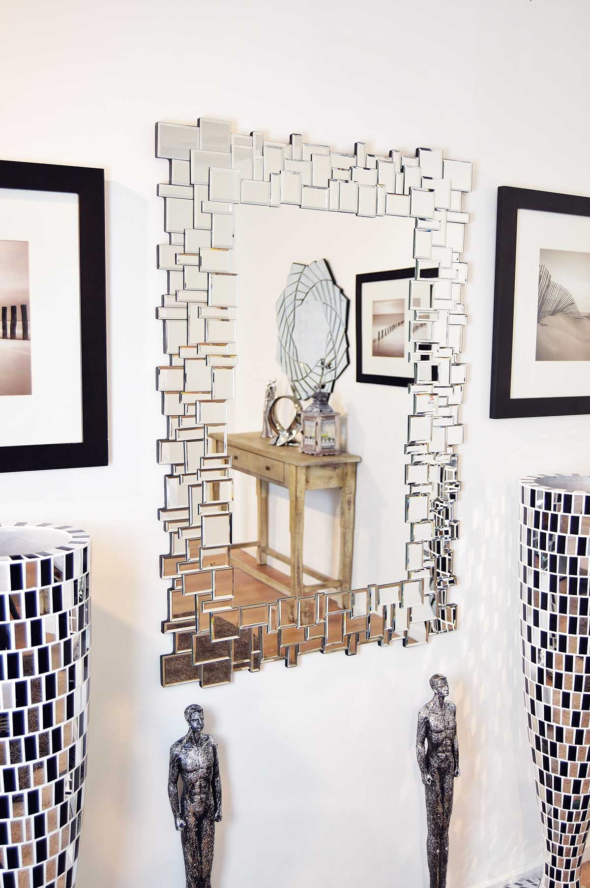 Venetain Block Glass Frame Modern Large Wall Mirror 3Ft11 X 2Ft8