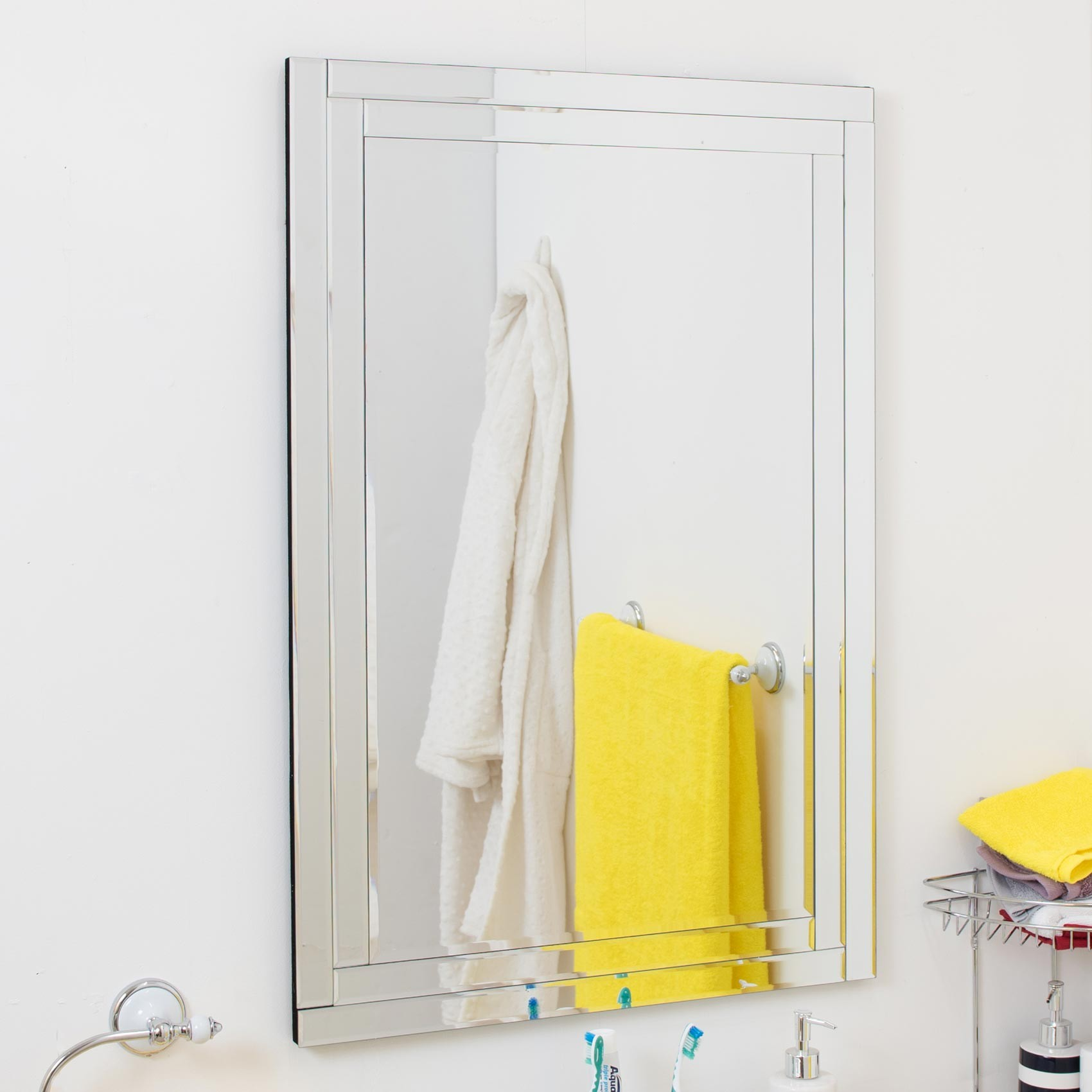 Large bathroom venetian all glass double frame wall mirror for Mirror 90 x 60