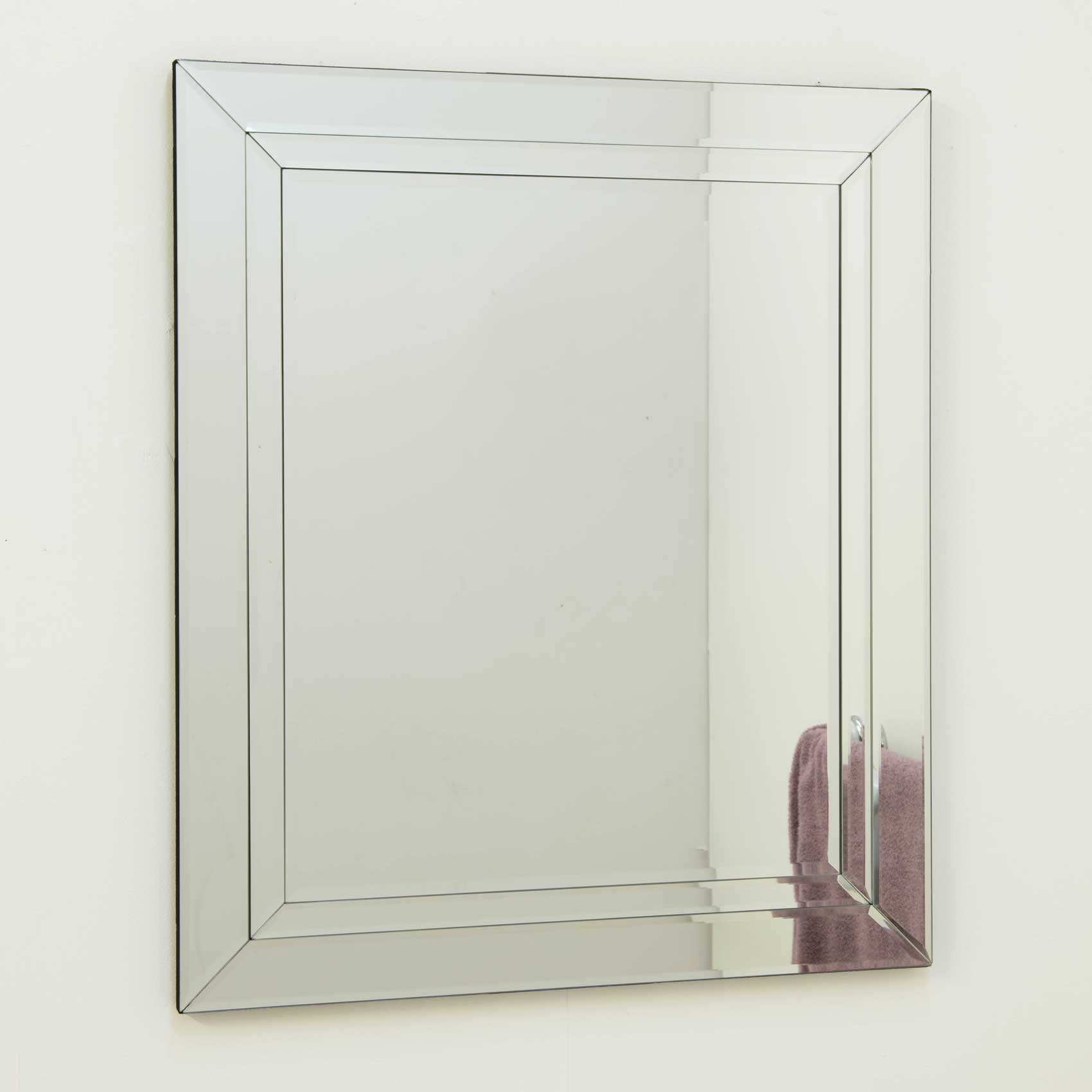 Bathroom Silver Doubled Bevelled Venetian Wall Mirror 2Ft3 ...