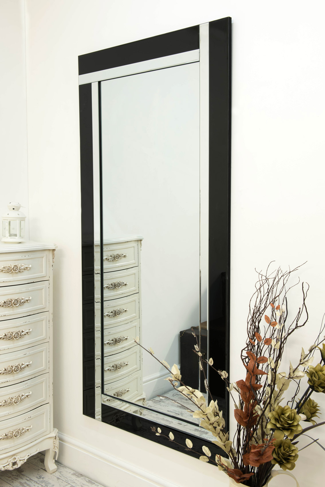 Large Black And Silver Bevelled Modern Wall Mirror 5ft9 X
