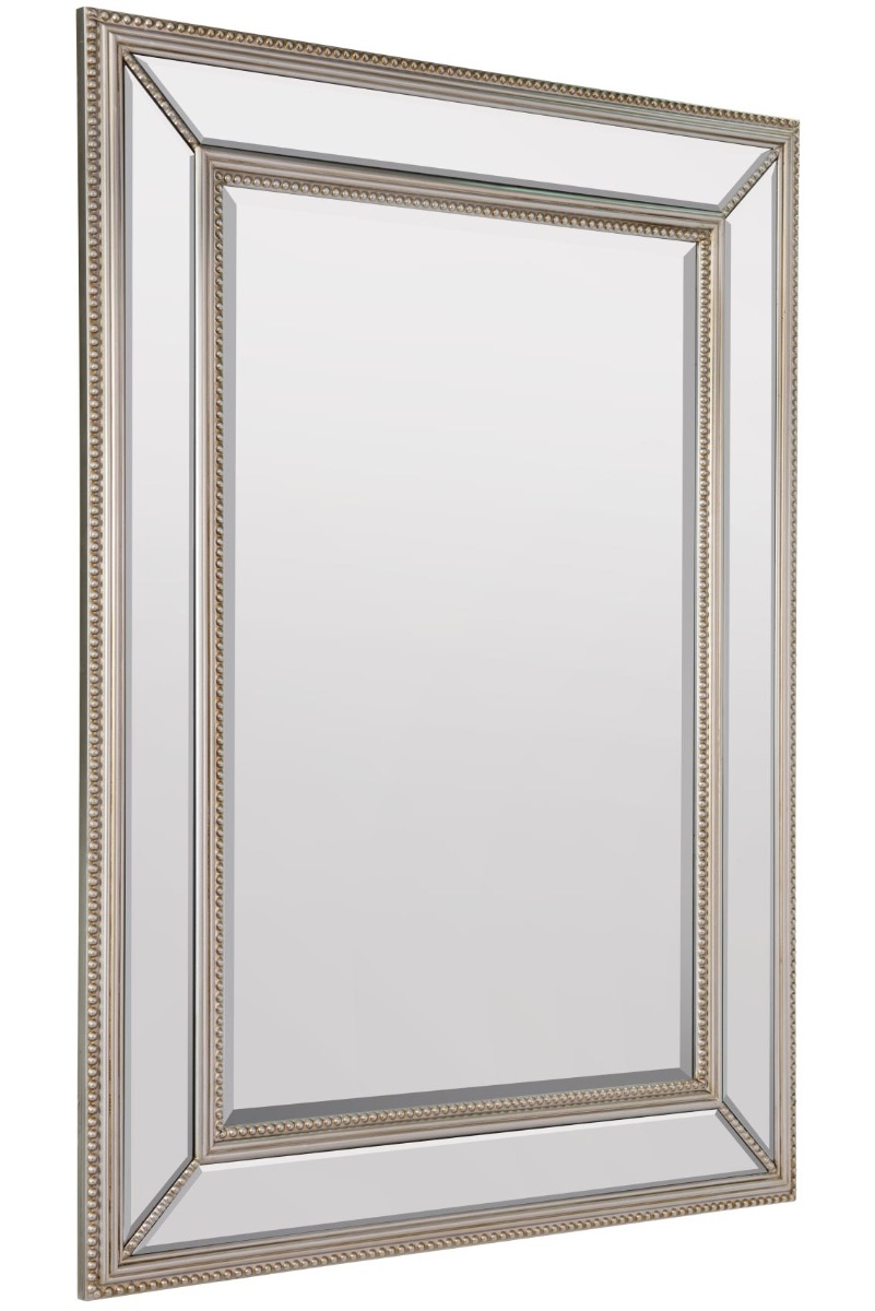 Large Silver Beaded Edge Modern Venetian Wall Mirror 3ft11 ...
